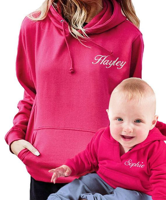 02fbaf8744790 Personalised Adult and Baby Hot Pink Hoodies for Mother and Daughter ...