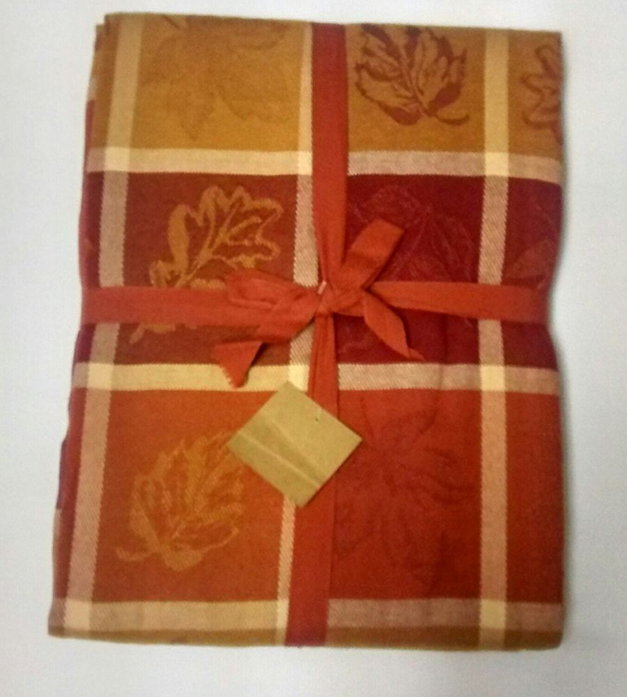 Well Dressed Home Autumn Plaid Tablecloth Leaf Design 100% Cotton 60 X 118  #WellDressedHome