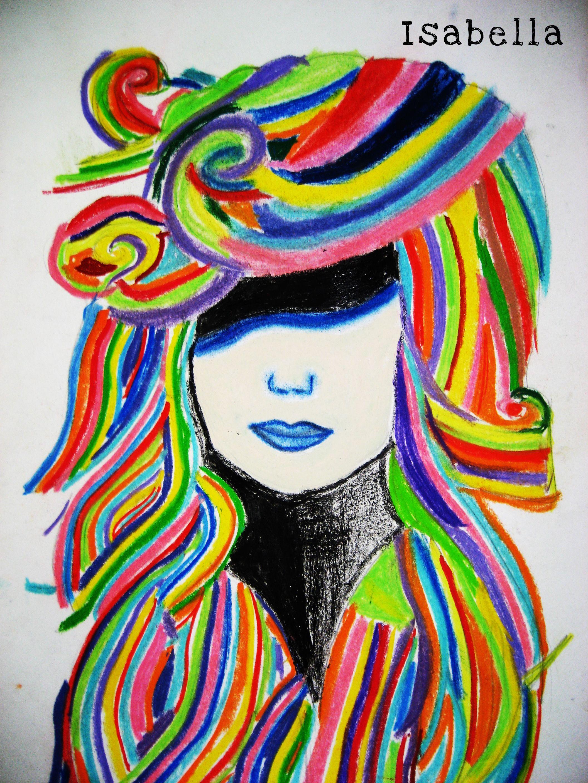 Dibujo realizado en tizas de colores la cabellera y carboncillo fijarlo al terminar con laca de - Cuadros de colores ...