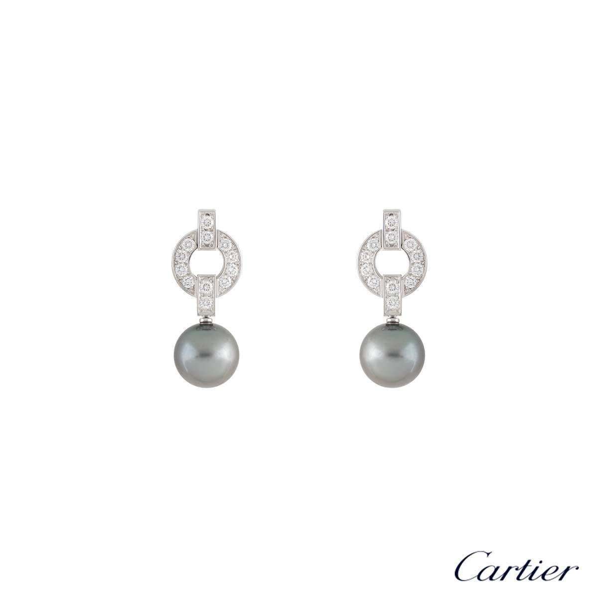 Cartier Himaliacollection Whitegold Diamonds Pearl Earrings Venezia Italy