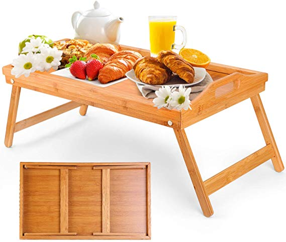 Amazon Com Moclever Breakfast Tray Table With Folding Legs