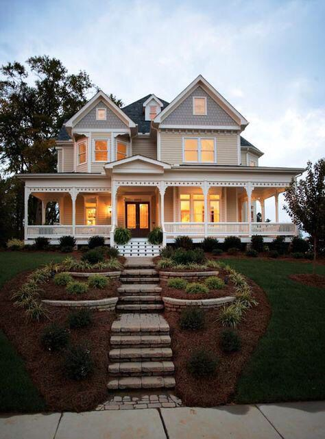House On A Hill With Wrap Around Porch Victorian House Plans Victorian Homes Dream House