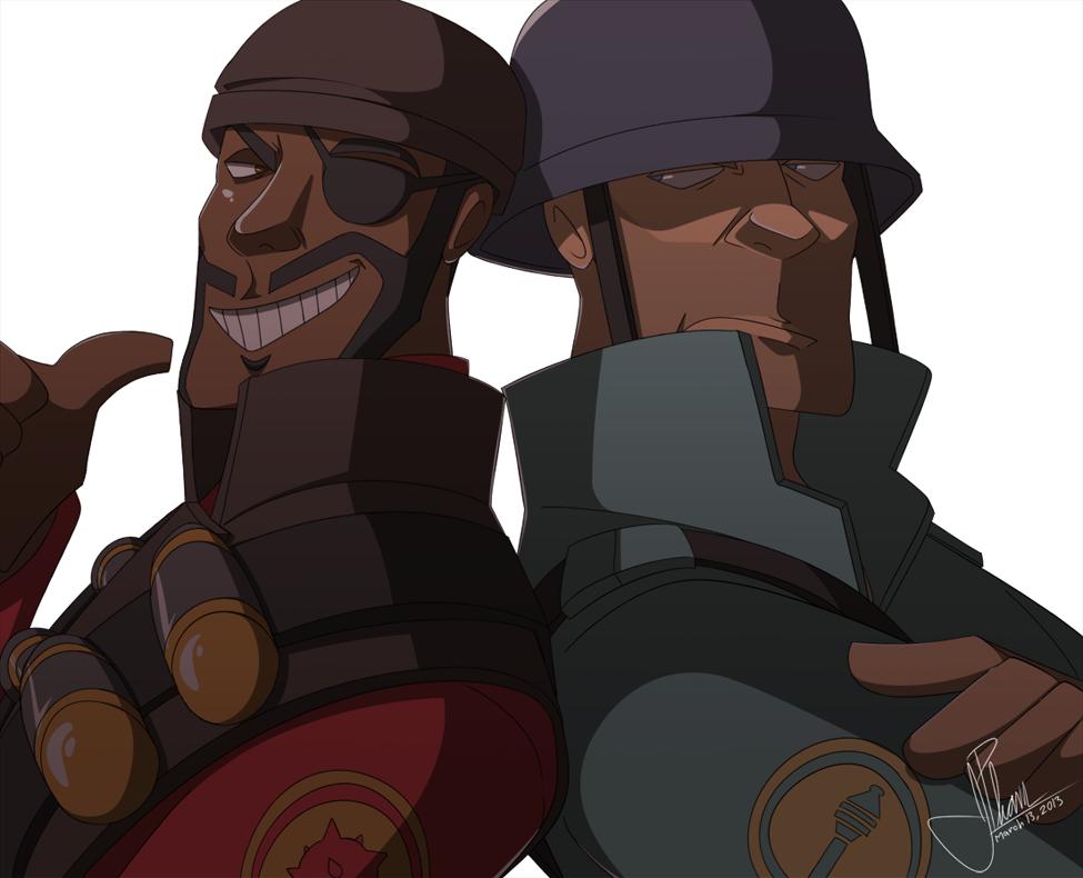 And The Pursuit Of Vengeance Red Demoman Blu Soldier Rheezy Deviantart Com Team Fortress 2 Medic Team Fortess 2 Team Fortress 2