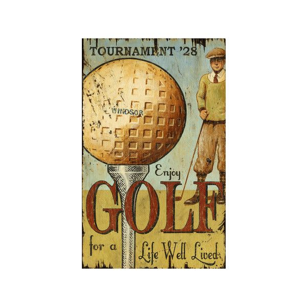 Enjoy Golf Large Wood Sign Wooden Sign Wall Art ($143) ❤ liked on ...