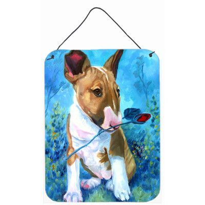 Caroline's Treasures Bull Terrier Rose for Mom by Lyn Cook Painting Print Plaque