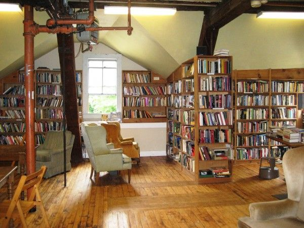 This is actually a bookstore in an old mill. I would never want to leave.