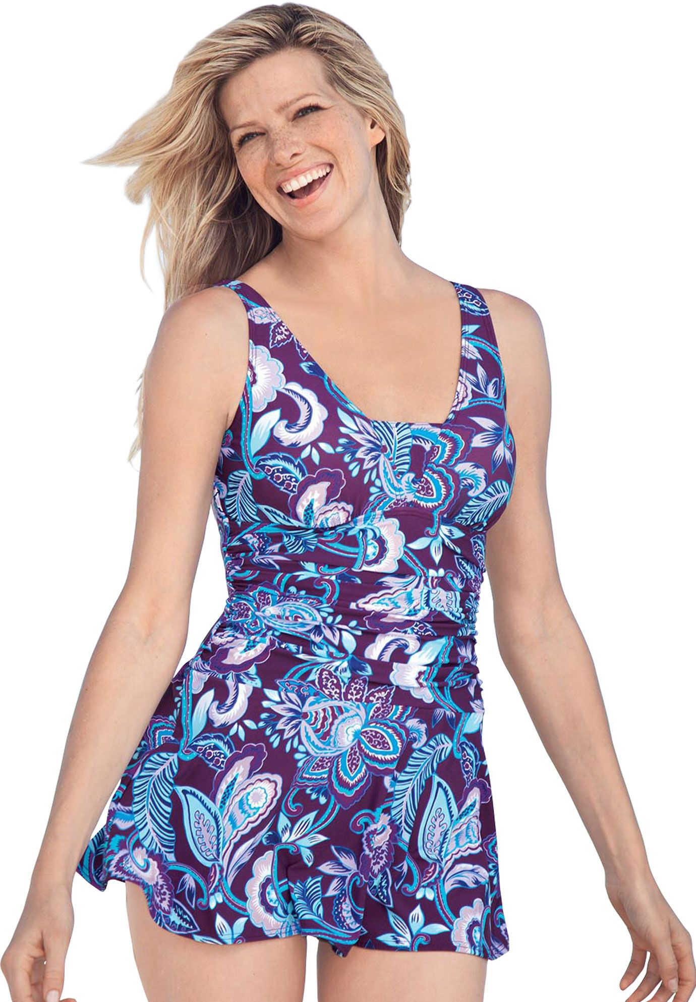 swimsuit, ruched swimdress by swim 365® | plus size swim dresses