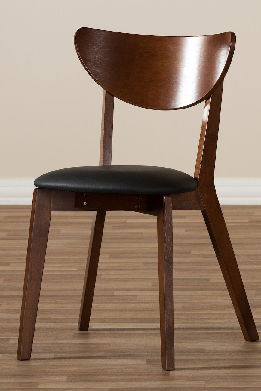 820cac671fa Image of Wholesale Interiors Baxton Studio Sumner Mid-Century Black Faux  Leather and Walnut Brown Wood 2-Piece Dining Chair Set