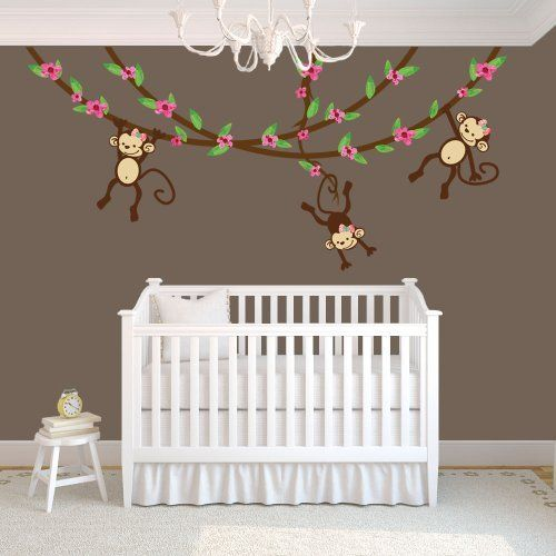 Swinging Monkeys On Vines Wall Decal, Vinyl Wall Decal, Monkey Wall Decal  For Girl