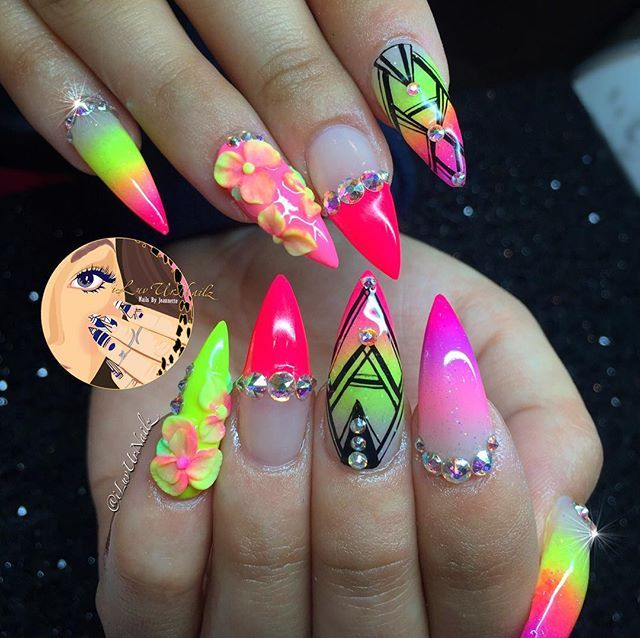 Neon Pink And Yellow Ombre Stiletto Nails With Rhinestones