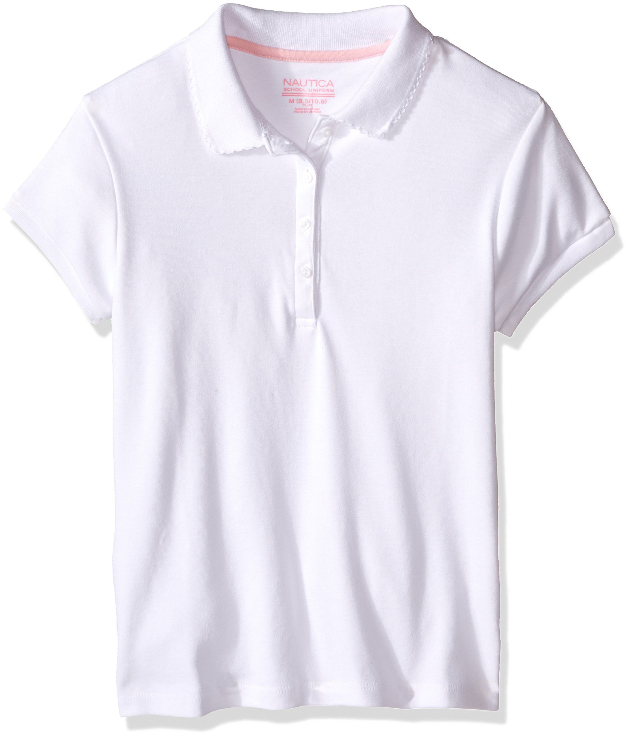 7afe7bfbe Nautica Plus Girls Uniform Short Sleeve Polo With Picot Stitch Collar White  XLarge     Click image for more details.(It is Amazon affiliate link)   ...