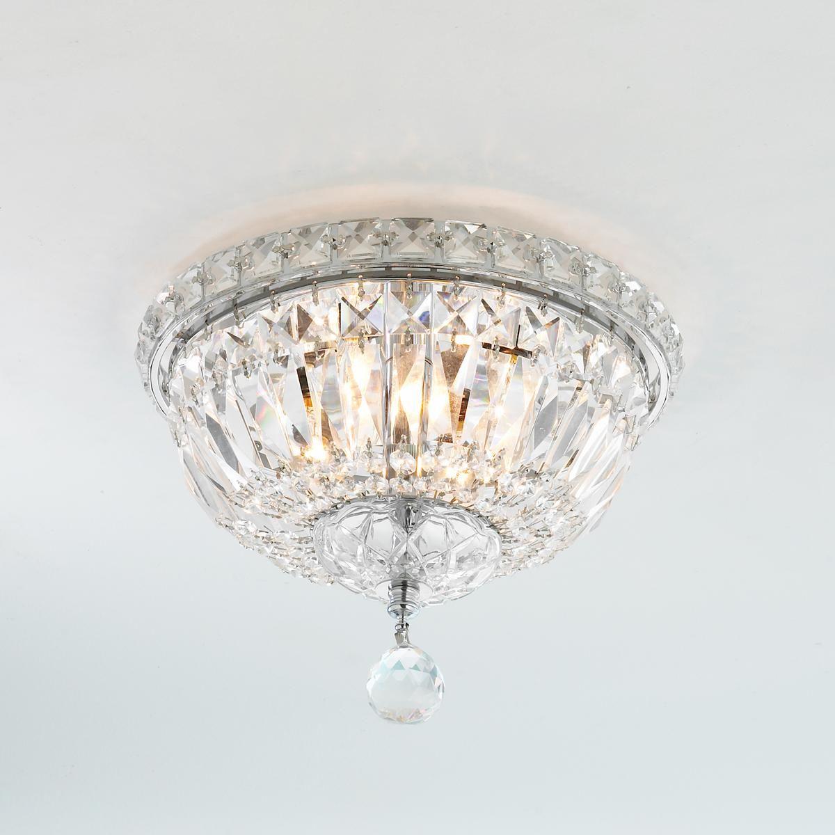 French Empire 4 Light Crystal Flush Mount Ceiling Light 10 Wide