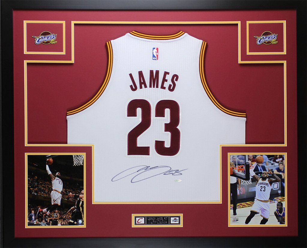 844938e5f Lebron James Autographed   Framed White Cavs Jersey
