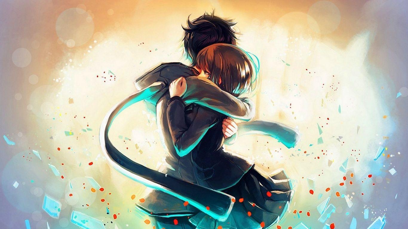 anime-boy-girl-hug-1366x768 (1366×768) | anime art | pinterest