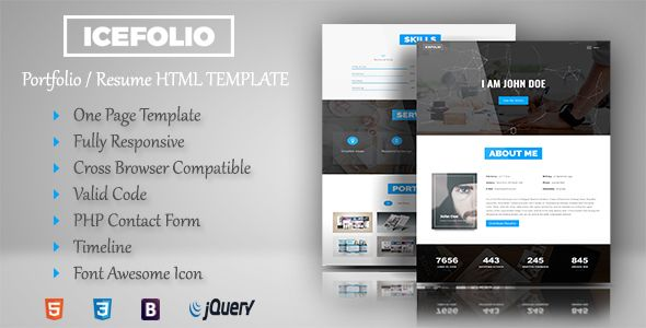 iceFolio - Personal Portfolio HTML5 Template Personal portfolio - resume html template