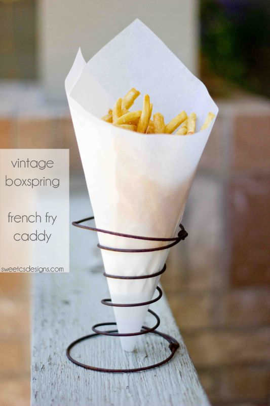 French Fry Caddy Made Using An Old Box Spring Think Of