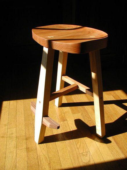 Handmade Furniture -- Three-legged stool out of cherry, ash and walnut