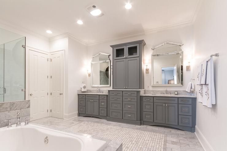 Gray Raised Panel Bathroom Cabinets With Carrera Marble Countertop Transitional Bathroom Grey Bathroom Cabinets Marble Bathroom Vanity Grey Bathroom Rugs