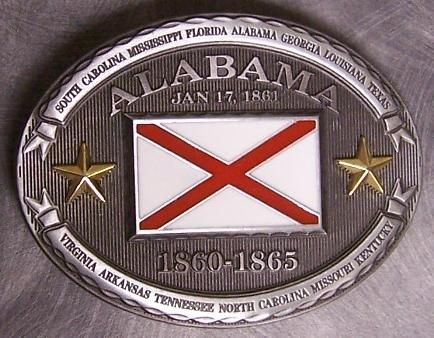 Alabama Confederate Pewter Belt Buckle.  Similar buckles are available for all 13 Confederate States