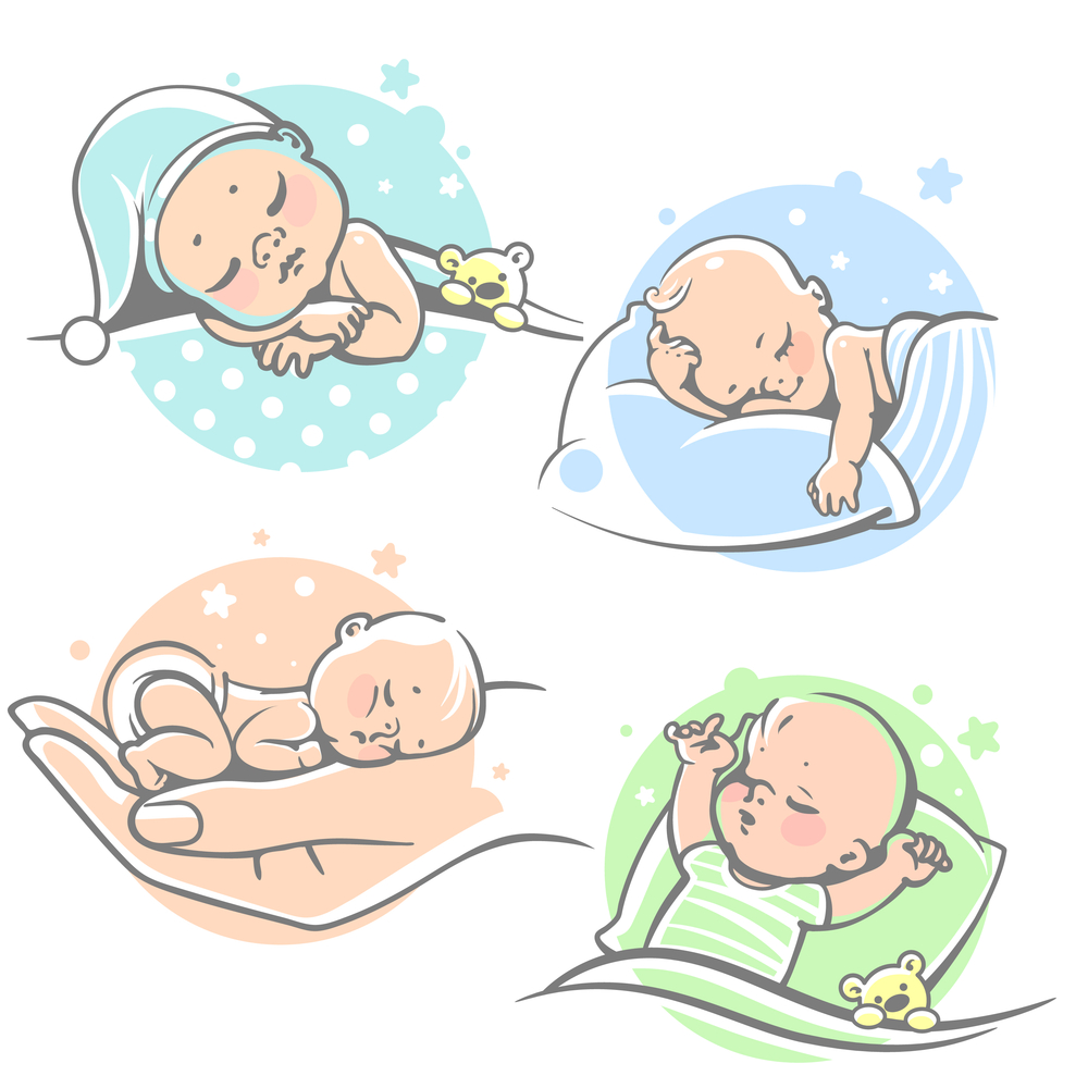 Set Cute Little Baby Sleeping Lying Baby Illustration Baby Drawing Baby Clip Art