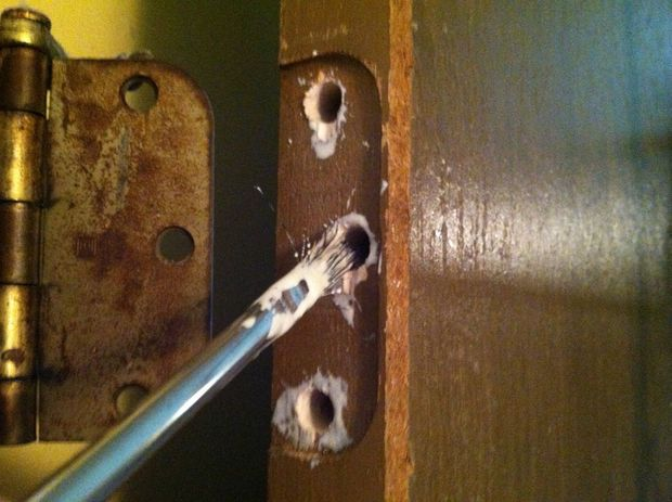 How To Repair Stripped Screw Holes For A Door Hinge Door Hinge Repair Door Frame Repair Hinges