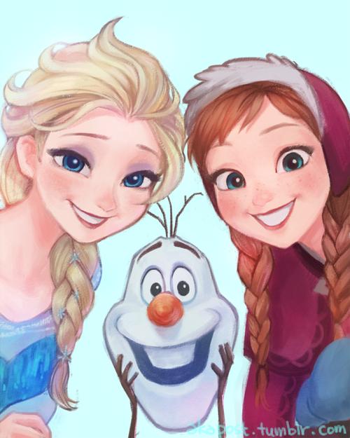 Anna Elsa And Olaf From Frozen Disney Fan Art Disney Drawings Frozen Fan Art
