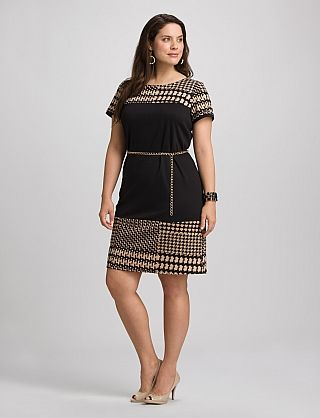 dress barn? who knew. Houndstooth dress for work, cinch with a big ...