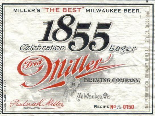 miller 1855 celebration lager 2005 old beer labels