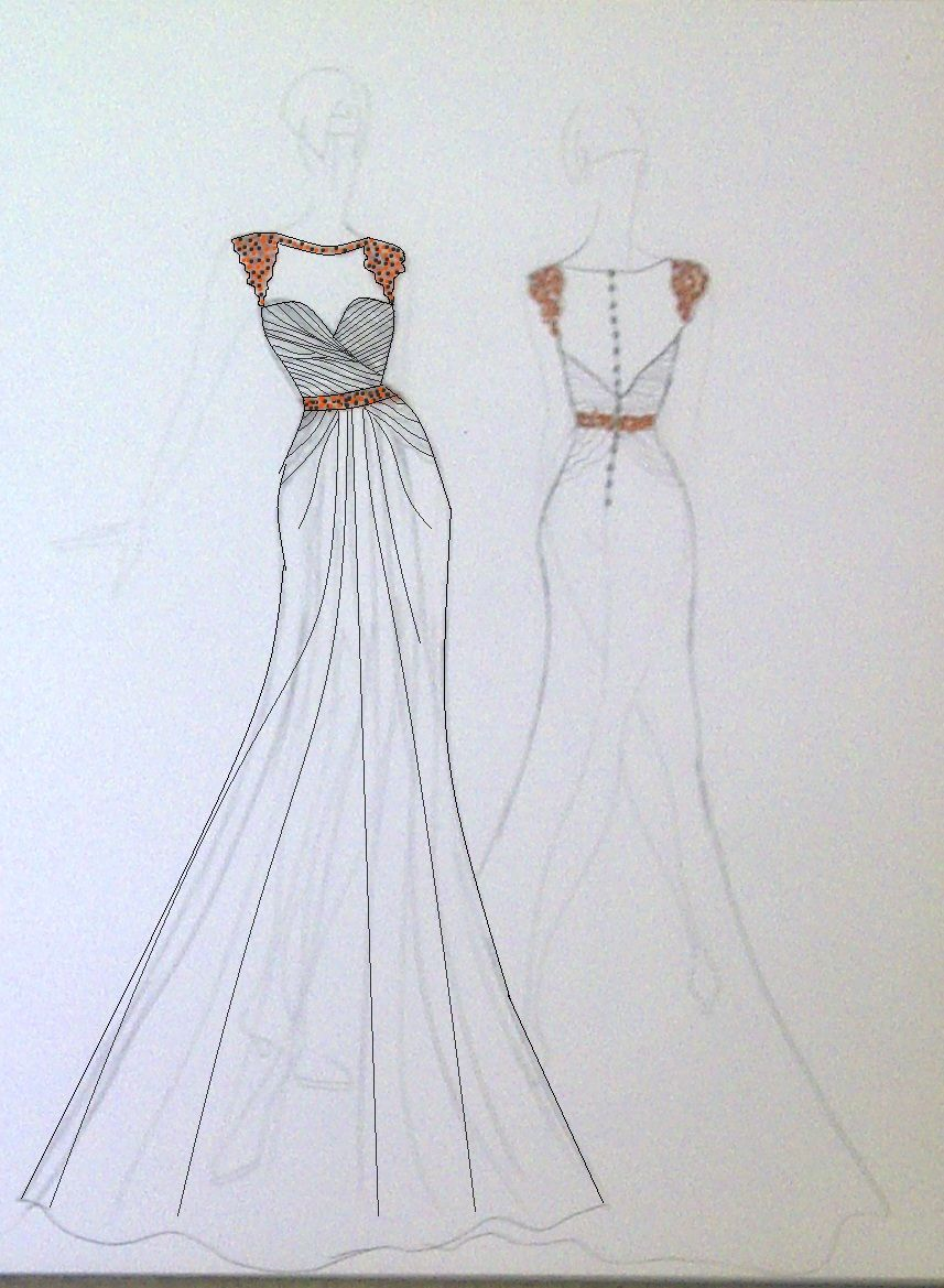 Wedding dress drawing  A Tangerine Tango Wedding for You  Tango Wedding and Orange
