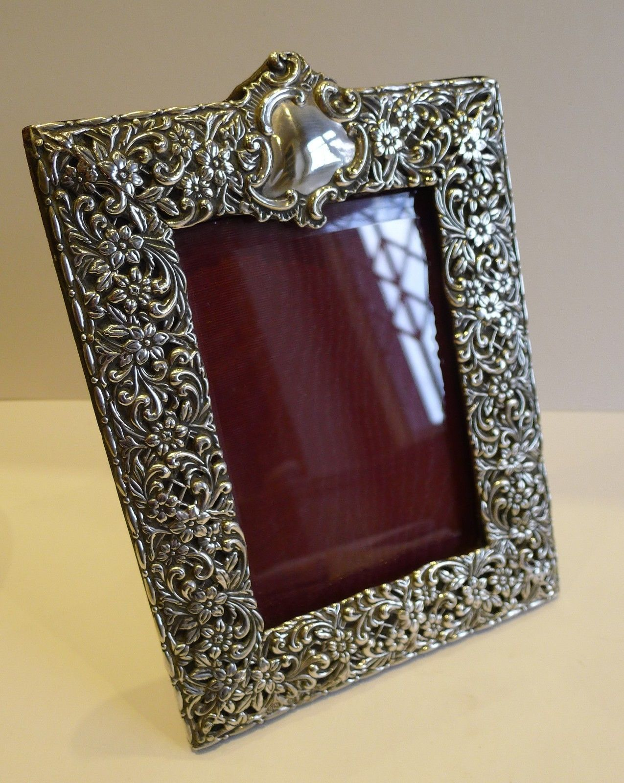 Stunning Large Antique English Sterling Silver Photograph Frame Ebay