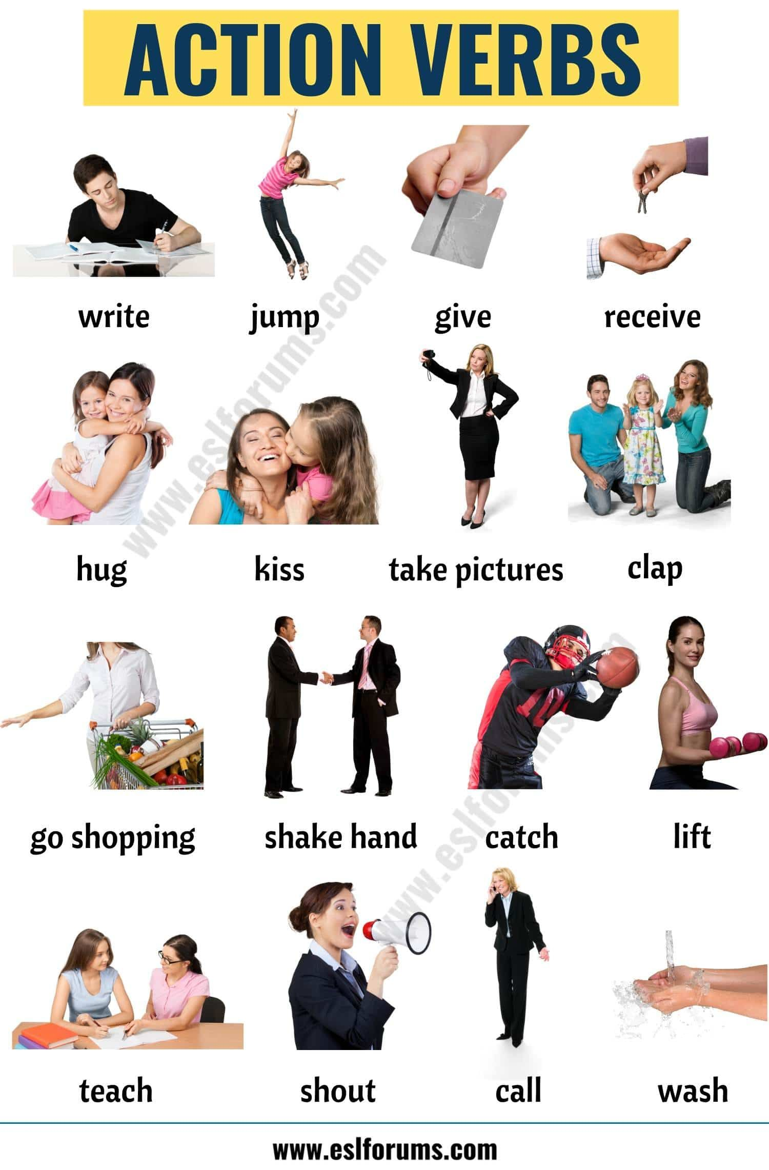 Action Verbs List Of 50 Useful Action Words With The