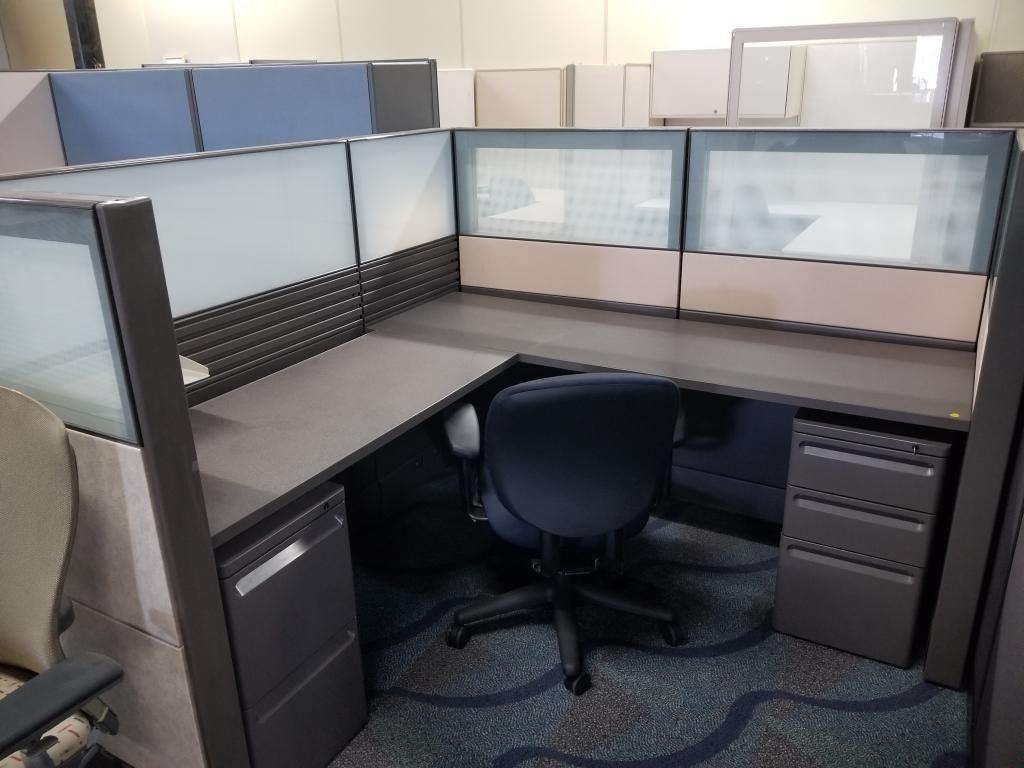 Herman Miller Ethospace used cubicles. Glass, walnut laminate