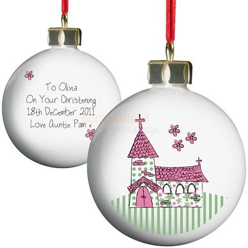 Personalised Bauble for Girls - Church Design  from Personalised Gifts Shop - ONLY £9.95