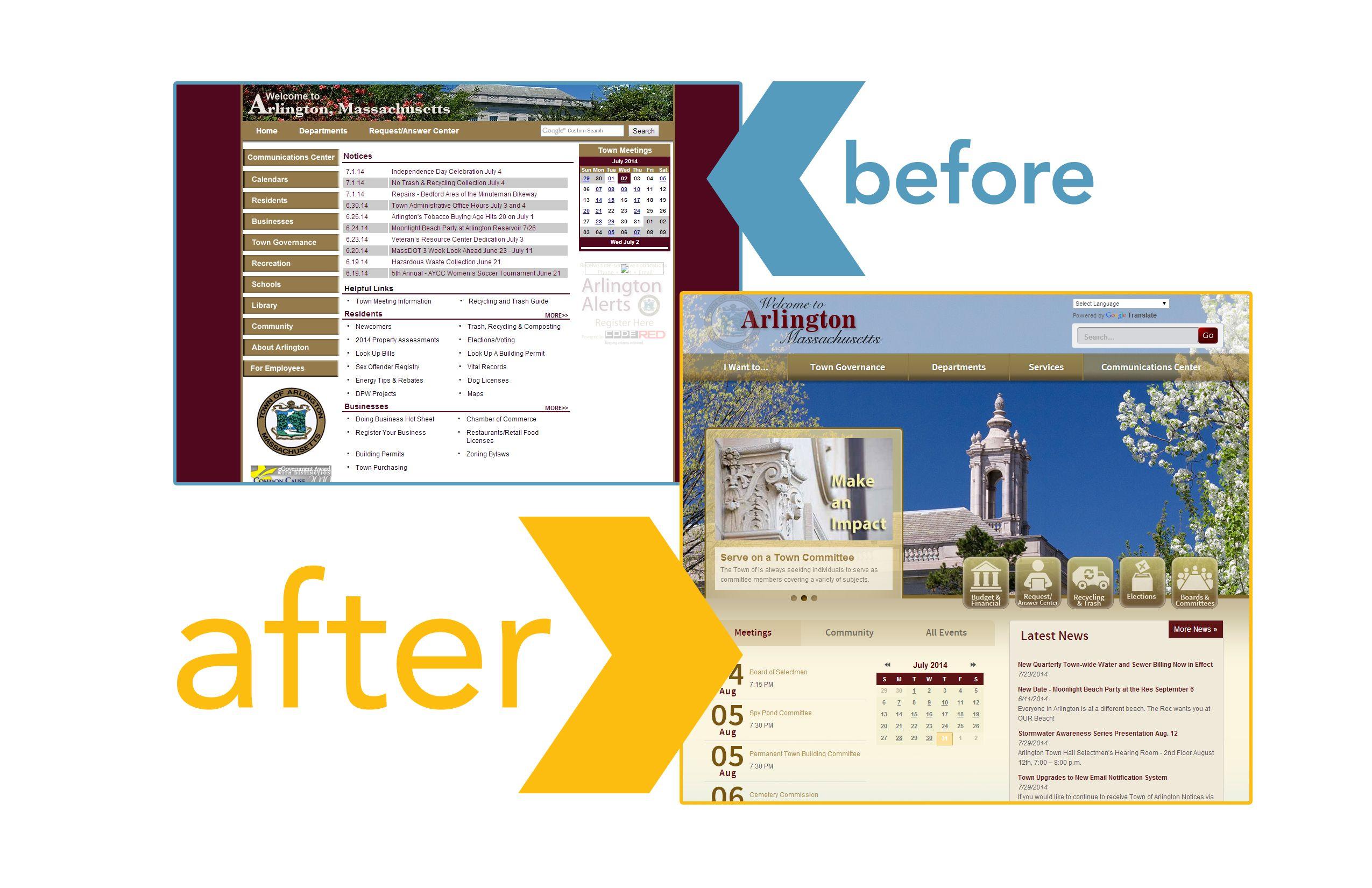 Arlington, MA www arlingtonma gov | Before & After | Website