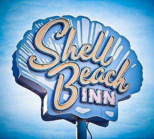 Shell Beach Inn Letrero De Neon Senales Antiguas