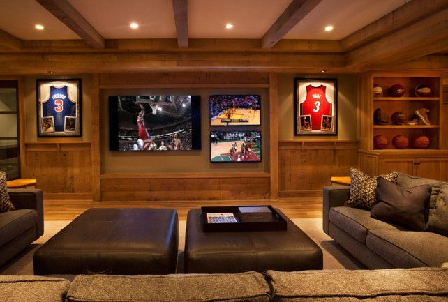 High Quality Basement Media Room With Multiple TVs. Garrison Hullinger Interior Design  Inc.