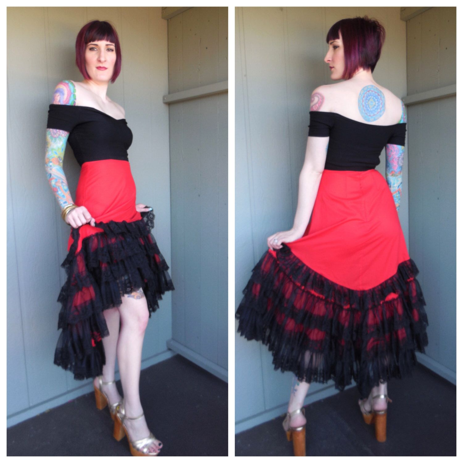 Vintage 80s Red Cotton and Black Lace Ruffled Hi-Low Cha Cha Salsa ...