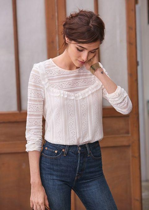 blouse dentelle romantique castle jean taille haute s zane broderie anglaise dentelle. Black Bedroom Furniture Sets. Home Design Ideas