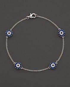 Diamond and Sapphire Evil Eye Station Bracelet in 14K White Gold