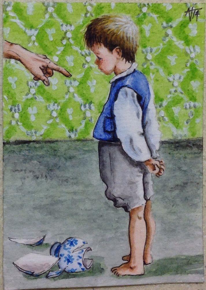 """Naughty !"" ACEO Original. in Art, Self-Representing Artists, Paintings   eBay"