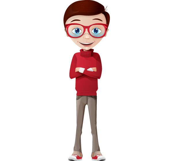 Cartoon Characters Clothes : Smart boy vector character dressed in casual clothes