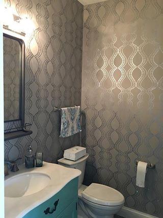 All The Right Curves Damask Bari J Wall Stencil   Silver bathroom ...