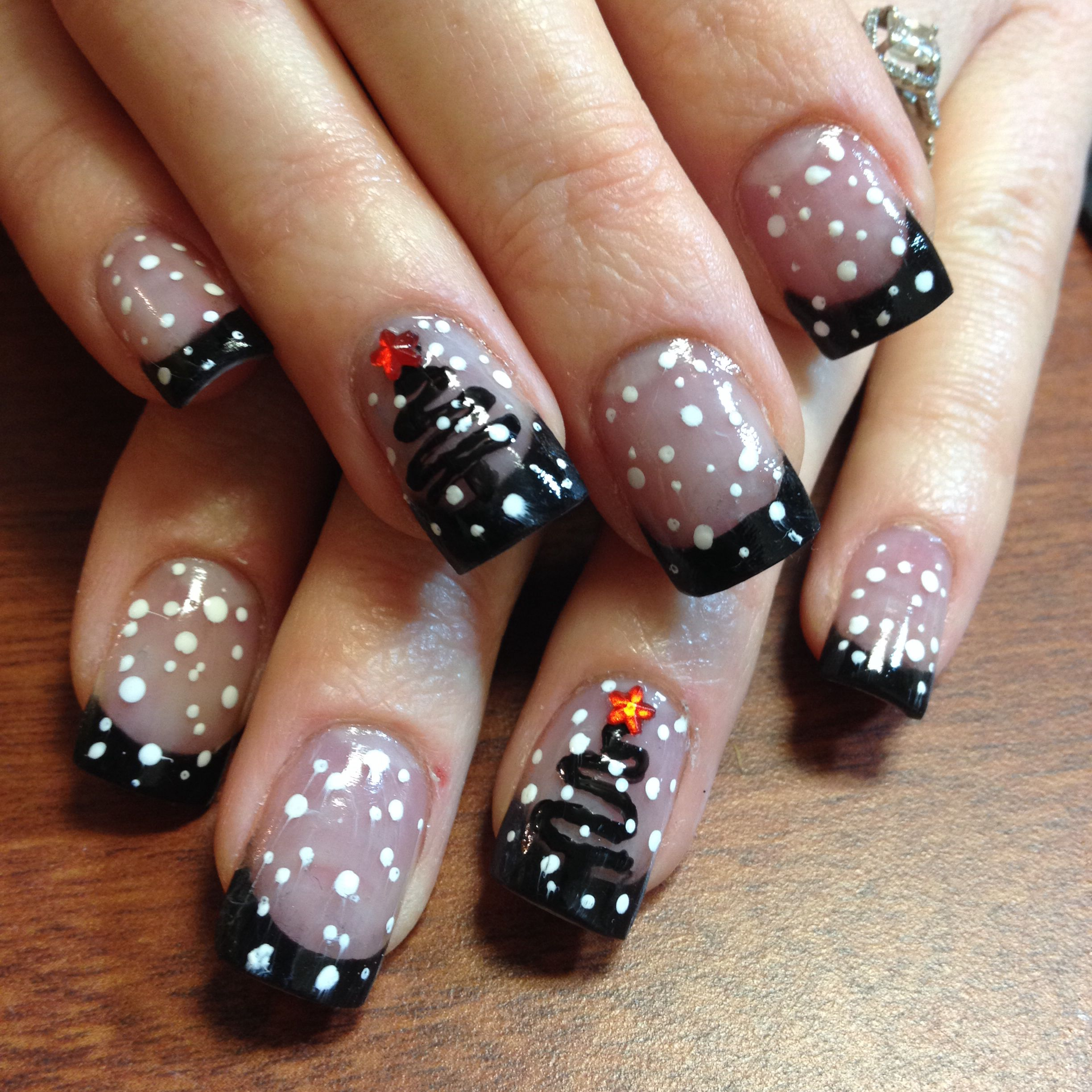 Pink and black acrylic nails with Christmas nail art | nails | Pinterest