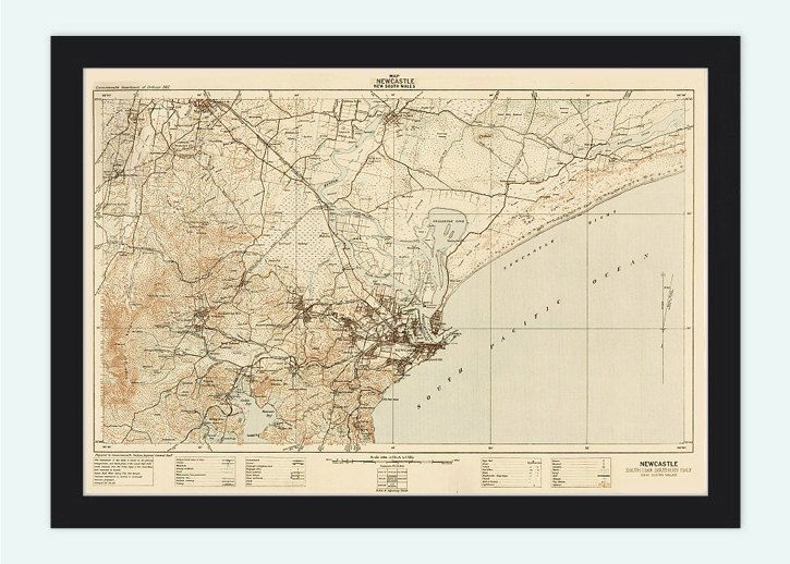 Australia Map Newcastle.Old Map Of Newcastle New South Wales Australia 1913 Clarendon Art