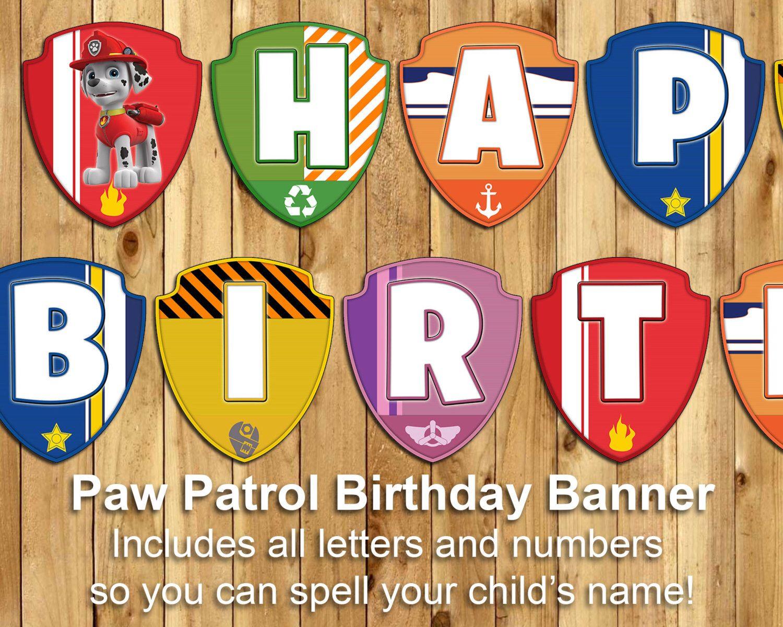 paw patrol birthday banner  paw patrol banner  download print