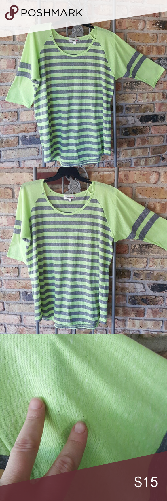 Derek Heart baseball top Neon green and heather gray baseball top. Excellent condition Derek Heart Tops