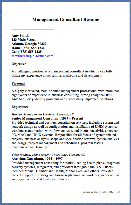 management consultant resume - Business Management Consultant Sample Resume