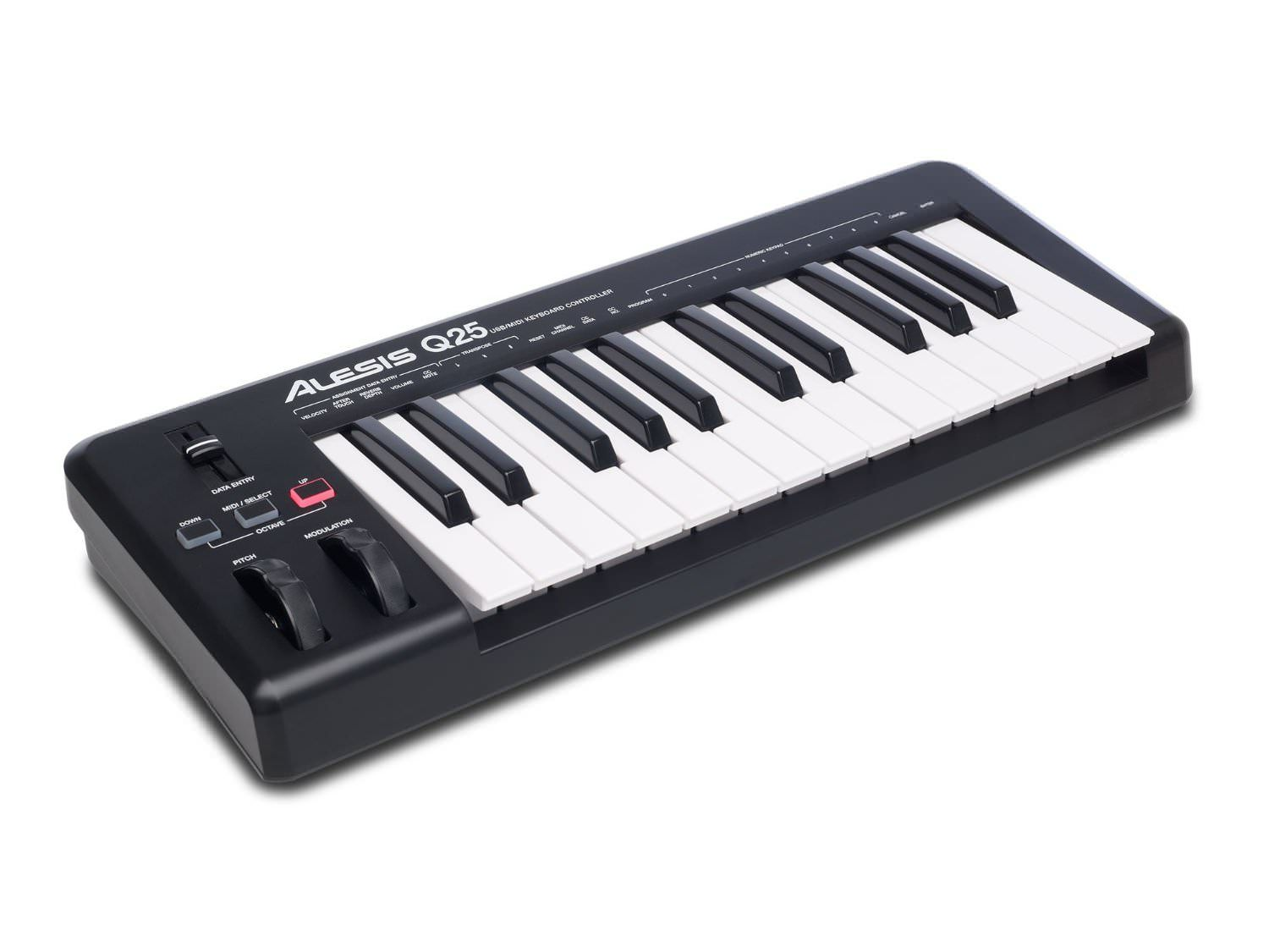 alesis q25 25 key keyboard midi controller review laptop usb midi keyboard controller home. Black Bedroom Furniture Sets. Home Design Ideas