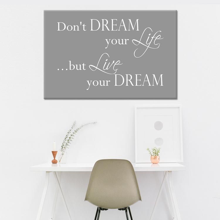 Woonkamer - Tekst op canvas - Live your dream   Woonkamer teksten ...