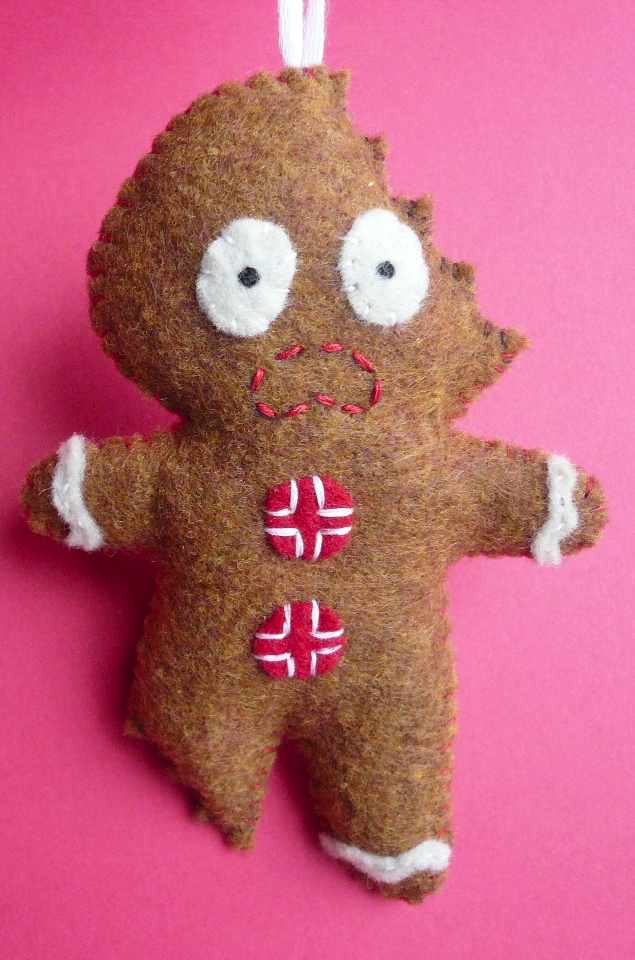 Felt Christmas Ornament - Terrifed Gingerbread Man - Felt Christmas Ornament - Terrifed Gingerbread Man Holidays